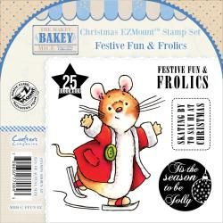 Makey Bakey EZmount Christmas Cling Stamp Set 4.75 X4.75   Festive Fun   Frolics