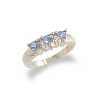 14K White Gold Trillion Cut Tanzanite and Diamond Ring Size 6 JewelryCastle Patio, Lawn & Garden