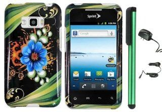 "Blue Aqua Flower Green Stripes On Black Design Protector Hard Cover Case for LG Optimus Elite LS696 (Sprint, Virgin Mobile) + Luxmo Brand Travel (Wall) Charger & Car Charger + Combination 1 of New Metal Stylus Touch Screen Pen (4"" Height, Random C"