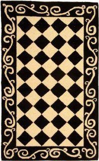 Shop Safavieh Chelsea Collection HK711A 24 Hand Hooked Black and Ivory Wool Area Runner, 2 Feet 6 Inch by 4 Feet at the  Home D�cor Store. Find the latest styles with the lowest prices from Safavieh