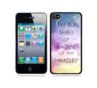 Quote   Life Is A Series Of Thousands Of Tiny Miracles Galaxy Sky   Protective Designer BLACK Case   Fits Apple iPhone 4 / 4S / 4G Cell Phones & Accessories