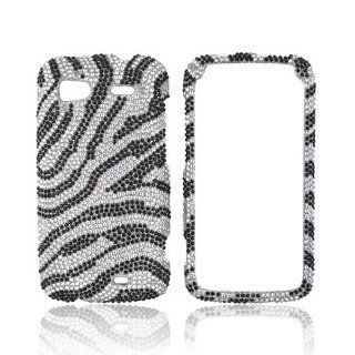 Black Zebra on Silver Gems Bling Hard Plastic Case Cover For HTC Sensation 4G Cell Phones & Accessories