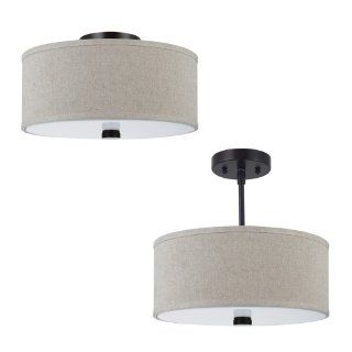 Sea Gull Lighting 77262 710 Semi Flush Mount with Linen Shade, Burnt Sienna Finish   Close To Ceiling Light Fixtures