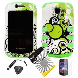 4 items Combo ITUFFY(TM) LCD Screen Protector Film + Mini Stylus Pen + Case Opener + Green Bubble Polka Black Vine Design Rubberized Hard Plastic + Soft Rubber TPU Skin Dual Layer Tough Hybrid Case for Straight Talk Samsung Galaxy Proclaim 720C SCH S720C