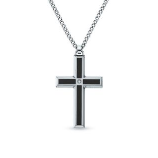 Mens Stainless Steel and Enamel Cross Pendant with Diamond Accents