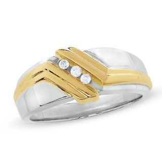 Mens 1/7 CT. T.W. Diamond Three Stone Slant Ring in 14K Gold and