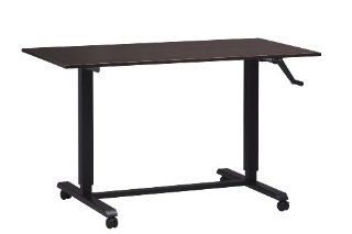 Adjustable Height Desk or Table   Black Base with Large Top and Wheels   Sit to Stand Up Computer Workstation   Modern and Ergonomic (Espresso (Wood Grain Finish))  Conference Tables