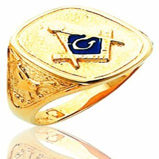 Men's 10K Yellow Gold Open Back Blue Stone Masonic Ring Jewelry