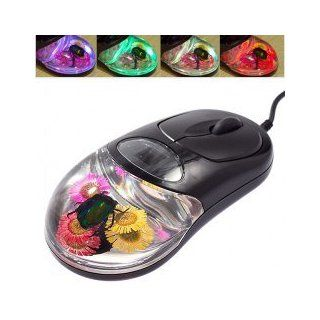 Delicate Popular Real Amber Insect Mouse with Colorful LED Light for Computer and Laptop (Black) Computers & Accessories