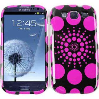 Cell Armor I747 SNAP TP1050 Snap On Case for Samsung Galaxy SIII   Retail Packaging   Polka Dots Burst, Pink on Black Cell Phones & Accessories