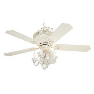 "52"" Casa Chic Antique White Ceiling Fan with 4 Light Kit   Chandelier Ceiling Fan Light Kits"