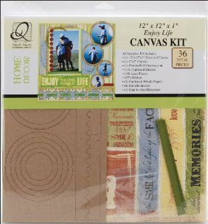 Quick Quotes Enjoy Life Canvas Wall Kit, 12 Inch by 12 Inch by 1 Inch   Scrapbooking Supplies