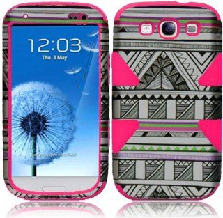 For Samsung Galaxy S3 i9300 i747 Dynamic Hot Pink Silicone With Antique Aztec Tribal Hard Impact Hybrid Fusion Tuff Double Layer Cover Case Cell Phones & Accessories