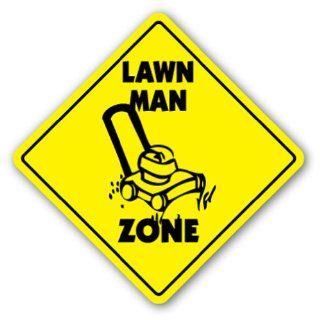 LAWN MAN ZONE Sign xing gift novelty cut grass service yard  Street Signs  Patio, Lawn & Garden