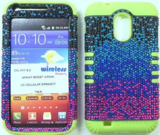 Heavy duty double impact hybrid Cover case Multi color Bling hard snap on over Lime Green soft silicone with Touch Pen, Zebra Earpiece, Winder and multi fiber cleaning cloth for SAMSUNG S2 Galaxy EPIC 4G TOUCH D710 R760 for SPRINT/BOOST MOBILE/VIRGIN MOBIL