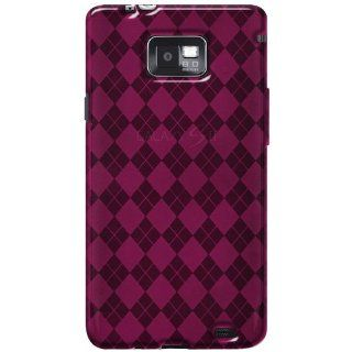 Amzer AMZ92232 Luxe Argyle High Gloss TPU Soft Gel Skin Case for Samsung Galaxy S II SGH I777   1 Pack   Frustration Free Packaging   Hot Pink Cell Phones & Accessories