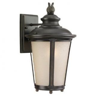 Sea Gull Lighting 89341BLE 780 Cape May   One Light Medium Outdoor Wall Sconce, Burled Iron Finish with Etched Hammered/Light Amber Glass   Wall Porch Lights