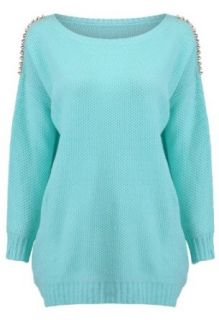 Romwe Women's Gold tone Riveted Mint Jumper Light Blue One Size Clothing