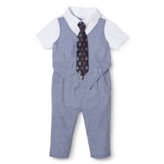 G Cutee Newborn Boys Short Sleeve Solid Romper   Chambray 3 6 M