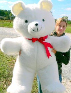 "LIFESIZE TEDDY BEAR 48"" GIANT HIGH QUALITY SQUEEZABLY SOFT PLUSH STUFFED ANIMAL HUGE   COLOR WHITE   AMERICAN MADE IN THE USA AMERICA Toys & Games"