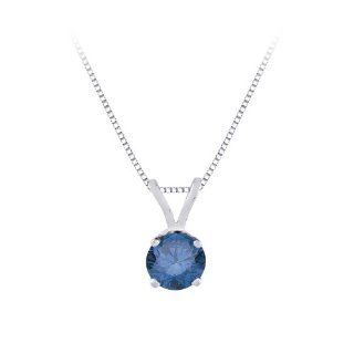 3/8 ct. Blue   I1 Round Brilliant Cut Diamond Solitaire Pendant with Chain in 14K White Gold Jewelry