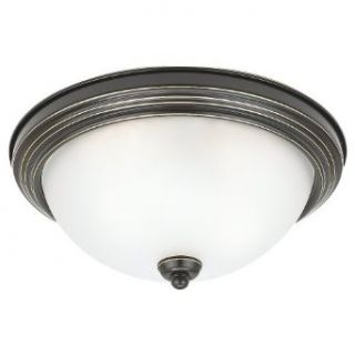 Sea Gull Lighting 79264BLE 782 Single Light Close To Ceiling Sussex Fluorescent Light Fixture, Satin Etched Glass Shade and Heirloom Bronze   Sea Gull Ceiling Flush Mount Light