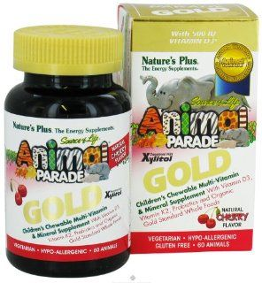 Source of Life Animal Parade Gold Children's Cherry Flavor Nature's Plus 60 Chew Health & Personal Care