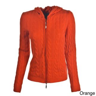 Luigi Baldo Luigi Baldo Womens Italian Cashmere Hooded Sweater Orange Size XL (16)
