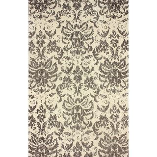 Nuloom Transitional Damask Microfiber Brown Rug (76 X 96)