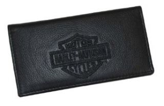Harley Davidson Bar & Shield Black Leather Embroidered Checkbook Cover FC806H 2B Clothing