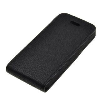 BestDealUSA Black Litchi Lines Up and Down Flip Case Cover for iPhone 5 Cell Phones & Accessories