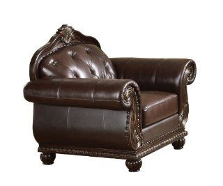 ACME 15032 Top Grain Leather Chair, Dark Brown Leather   Childrens Upholstered Armchairs