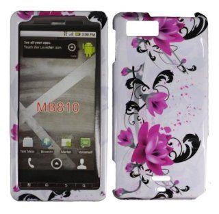 Purple Lily Hard Case Cover for Motorola Milestone X MB809 Cell Phones & Accessories