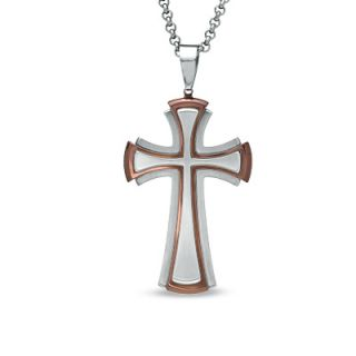 Mens Two Tone Stainless Steel Cross Pendant   24   Zales