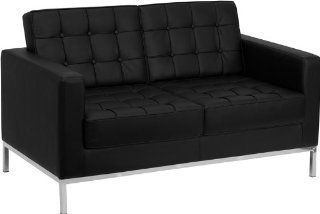 Flash Furniture ZB LACEY 831 2 LS BK GG Hercules Lacey Series Contemporary Black Leather Love Seat with Stainless Steel Frame   Loveseat
