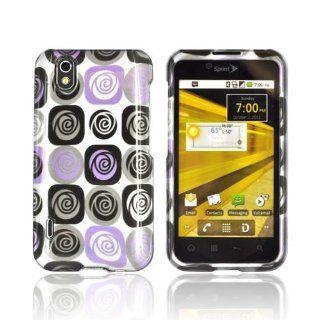 Light Purple and Black Roses on Silver LG Marquee LG855 Plastic Case Cover [Anti Slip] Supports Premium High Definition Anti Scratch Screen Protector; Durable Fashion Snap on Hard Case; Coolest Ultra Slim Case Cover for Marquee LG855 Supports LG LG855 Devi