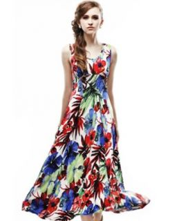 Maxchic Women's Sleeveless Stretch Floral Print Maxi Dress Summer Maxi