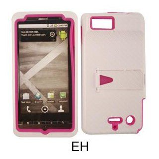 Motorola Droid X2 MB870 Jelly Hot Pink Skin White Snap Case Cover Snap On Hard Cell Phones & Accessories