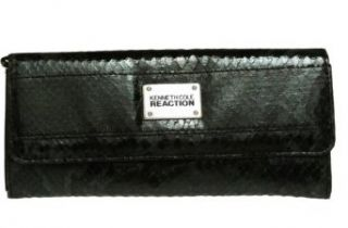 KENNETH COLE REACTION Python Print Clutch Wallet W/ Coin Purse [111853/872], BLK