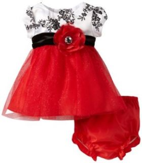 Rare Editions Baby Baby girls Newborn Toile Bodice To Red Mesh Dress, Red/White/Black, 6 Months Clothing