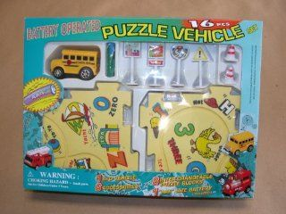 New Puzzle Car Vehicle   School BUS Kids Toy 16 Pcs Battery Operated Home Games Toys & Games