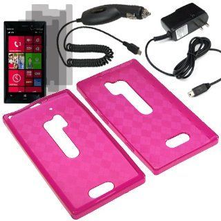 HR TPU Sleeve Gel Cover Skin Case for Verizon Nokia Lumia 928 x3 Fitted Screen Protector + Car Charger + Home Charger  Pink Checker Cell Phones & Accessories