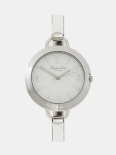 Kenneth Cole Watches Womens white leather and steel bangle watch by Kenneth Cole Watches