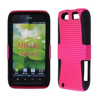 For Motorola Atrix 4g Mb886 Hot Pink Snap And Black Skin Heavy Duty Snap On Case Accessories Cell Phones & Accessories