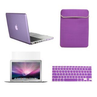 "TopCase New Macbook Pro 13"" 13 inch with Retina Display Model A1425 and A1502 (NEWEST VERSION 2013) 4 in 1 Bundle   Purple Crystal Hard Case Cover + Matching Color Soft Sleeve Bag + Silicone Keyboard Cover + LCD HD Clear Screen Protector with TopCase"