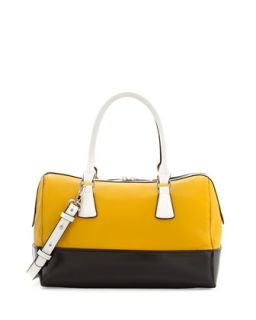Dara Colorblocked Leather Satchel Bag, Yellow/Black/White   Charles Jourdan