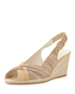 Suede Leather Combo Wedge, Beige   Sesto Meucci