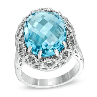 Oval Blue Topaz Ring in Sterling Silver   Zales