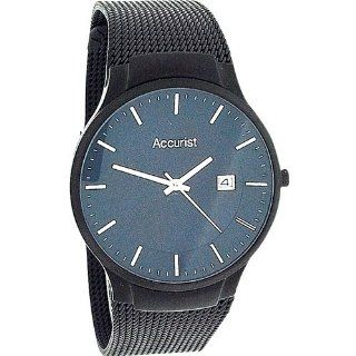 Accurist Gents Blue Dial Date Stainless Steel Black Mesh Bracelet Watch MB902N Watches