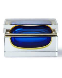 Murano Glass Jewelry Box, Blue